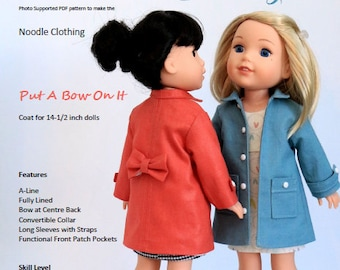 "14 inch Doll Clothes Pattern.  ""Put A Bow On It"" PDF coat pattern fits 14-1/2 inch dolls such as Wellie Wishers®"