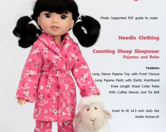 Wellie Wishers Clothing PDF Pattern  Counting Sheep Sleepwear PDF Pattern for 14.5 inch dolls