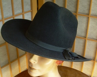 Western style Black Men s HAT Sz 7 1 8 is 100% WOOL and hardly worn. Eddy  Bros. Cal.