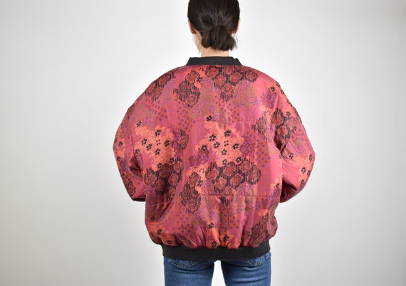 red patterned silk bomber jacket // 100% genuine … - image 5