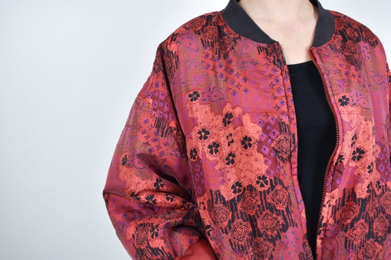 red patterned silk bomber jacket // 100% genuine … - image 4