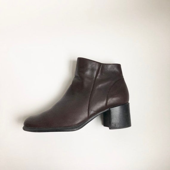 brown genuine leather ankle boots with chunky heel
