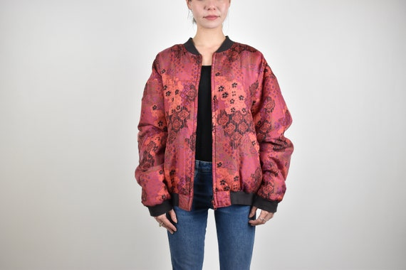red patterned silk bomber jacket // 100% genuine … - image 6