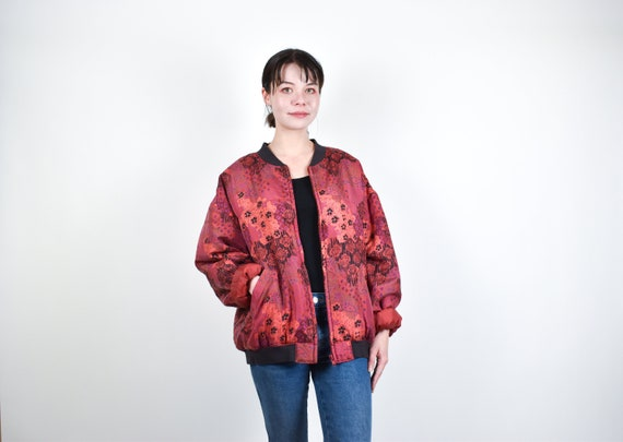 red patterned silk bomber jacket // 100% genuine s
