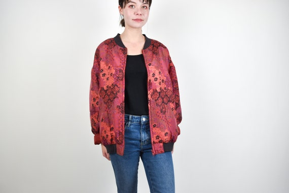 red patterned silk bomber jacket // 100% genuine … - image 2