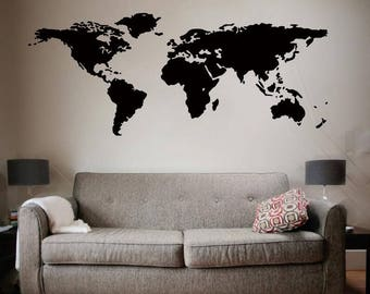 World Map Decal Etsy
