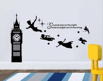 83b353ac81de Big Ben Clock Wall Decal, Peter Pan Wall Decal Quote-Second Star To The  Left Vinyl Sticker, Nursery Playroom Wall Art