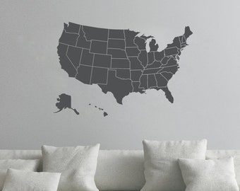 Usa map decal | Etsy