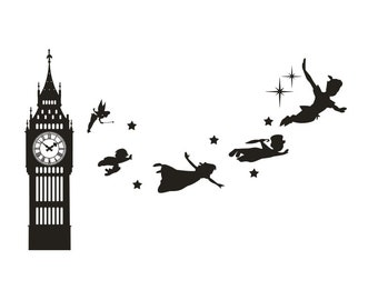 e37dba7260c1 Big Ben Clock Wall Decal, Peter Pan Wall Decal Vinyl Sticker, Nursery  Playroom Wall Art