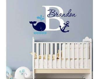 More colors. Name Wall Decal - Whale ...  sc 1 st  Etsy & Whale wall decal | Etsy
