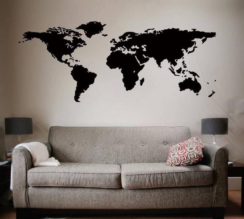 0656ce40161 World Map Wall Decal World Map Decal Vinyl Wall Art Mural