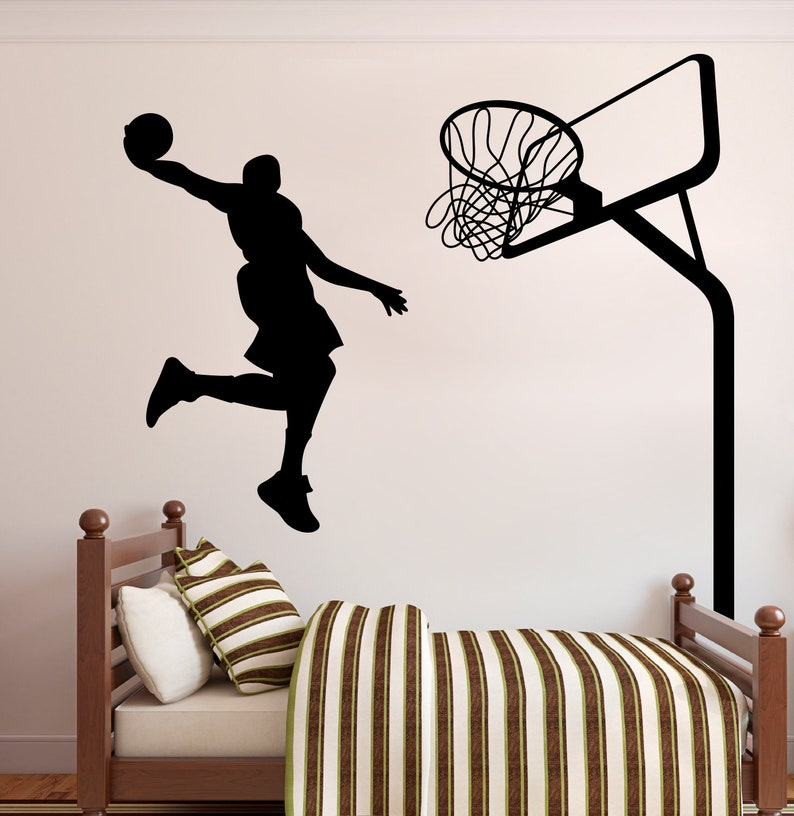 uk availability 16370 f55fc Basketball wall decal Home decor vinyl sticker Sports Wall   Etsy