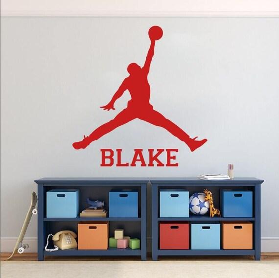 lepszy sprzedawca hurtowy na stopach o Naklejka ścienna nazwa koszykówki-Michael Jordan Naklejki ścienne-Jump Man  kalkomania-Sport Wall art-winylowe Naklejki ścienne