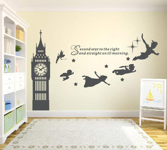 Peter Pan Wall Art.Big Ben Clock Wall Decal Peter Pan Wall Decal Quote Second Star To The Right Vinyl Sticker Nursery Playroom Wall Art