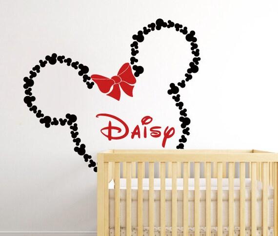 Große Minnie Maus Wandtattoo - Mickey Mouse Ohren Minnie mit Schleife  personalisierte Baby Name Wandtattoo