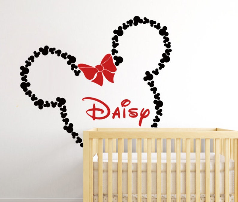 Mickey Mouse Muursticker.Grote Minnie Mouse Muur Sticker Mickey Mouse Oren Minnie Met Etsy