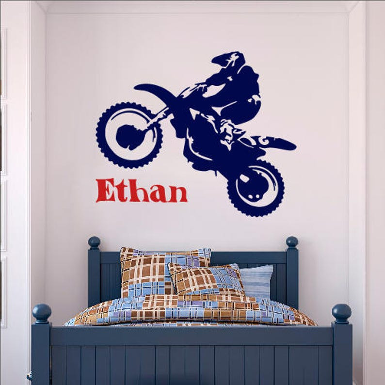 Personalised Name Boys Wall Art Sticker Motocross Sport MX Bikes Stunts