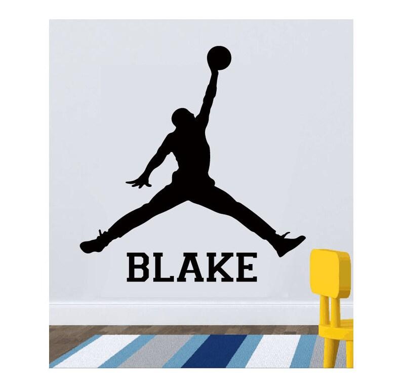 brand new 8c218 1b7e2 Basketball Custom Name Wall Decal Michael Jordan Wall Decal   Etsy