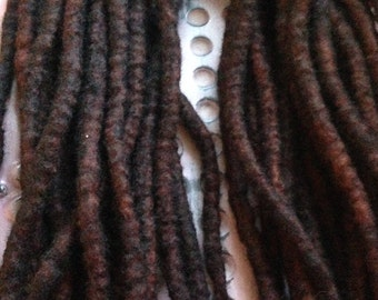 10 DE Wool Dreadlocks - Wool Dreads/Double Ended/Wool Hair Extensions/Brown Wool Dreadlocks/Brown Dreads/Hair Extensions/Woolies