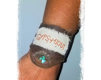 1df80d0c4ea72 Upcycled Leather Cuff Bracelet Gypsy Soul Hand Embroidered Handmade Boho  Cowgirl Jewelry