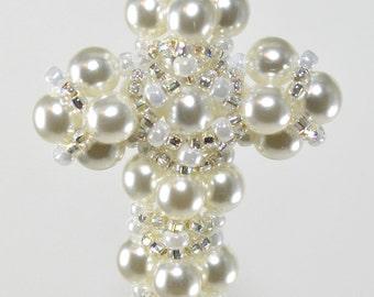 Pearl Cross Pendant - A PDF Beading Pattern