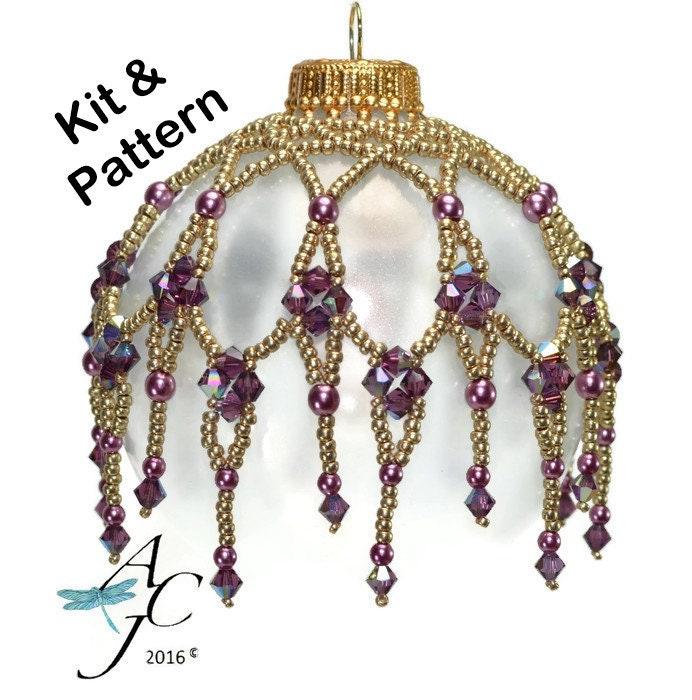 Améthyste Kit w / motif motif motif ** facile perles gouttes d'ornement avec des perles de Swarovski Crystals - cathédrale Windows - & motif 99e275
