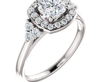 4e99710eb992 1.50 quilates anillo Halo Swarovski Zirconia cúbico anillo de