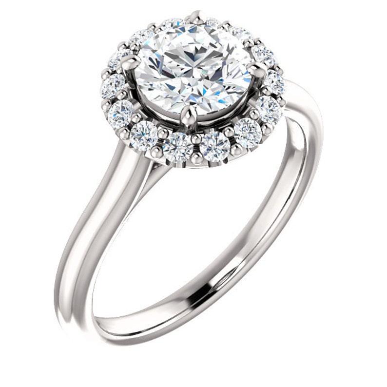 132afdf1ff5394 1.25 ctw Halo Engagement Ring Floral Halo Ring Swarovski | Etsy