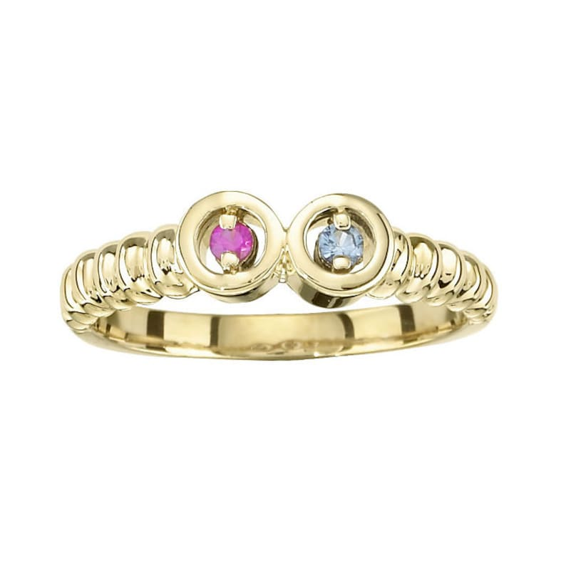 Mother's 2 stones Ring 14k Gold White / Yellow Or Rose image 0