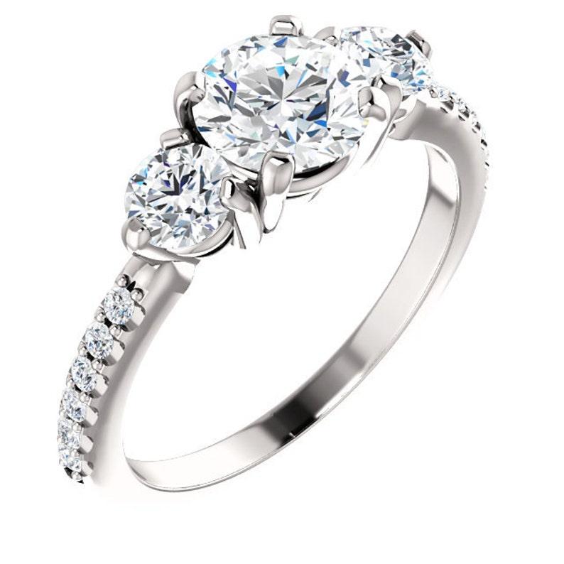 26c2603341b6bb 1.75 ctw Three Stone Engagement Ring Swarovski Cubic Zirconia | Etsy