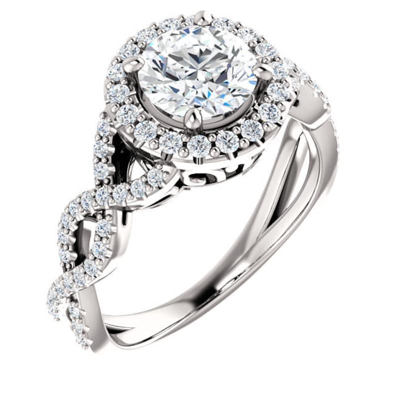d6040d082e6fb7 1.50 ctw Halo Infinity Engagement Ring Swarovski Cubic | Etsy