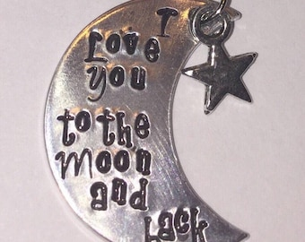 I love you to the moon and back Necklace, moon necklace, star necklace