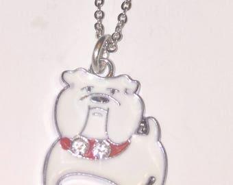 Bulldog necklace, bulldog charm, enamel charm, dog charm, pet charm, stainless steel