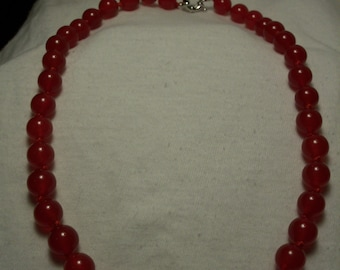 18 inch  Red Jade Necklace