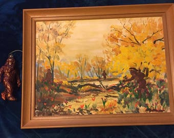 Oil Painting 'Sasquatch Family Foraging' with Glass Ornament