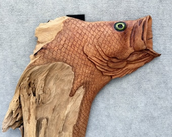 Large Mouth Bass Driftwood Carving 3-4-2-18
