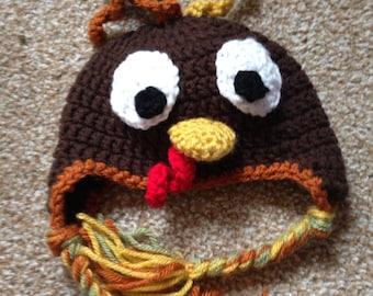 Crocheted turkey hat 0-3 months