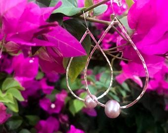 Tear drop earrings with fresh water pearls