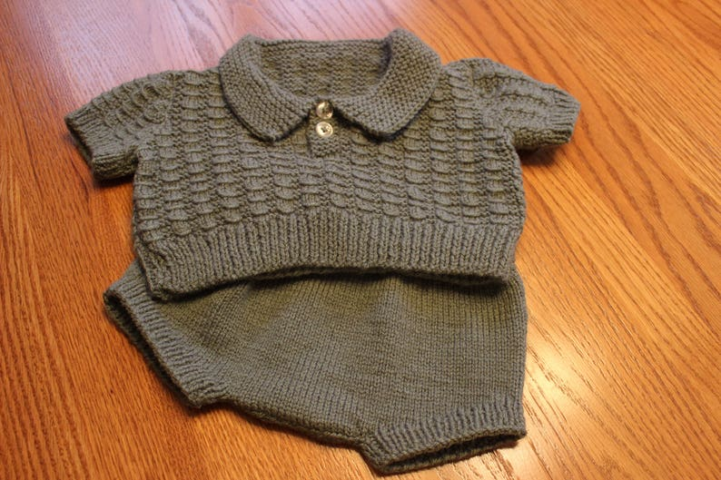db0ceef7a968 Hand Knit Baby Boy Sweater Set Sweater Set with Rompers