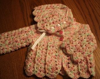 Crocheted Baby Sweater Set - Baby Sweater Set - Crochet Baby Set - Baby Girl - Baby Shower Gift - Crochet Baby Gift - Baby Sweater