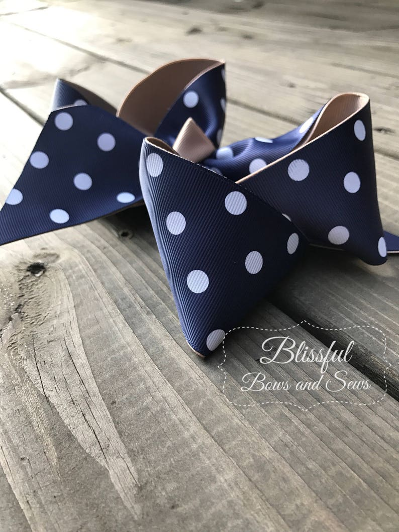 Back to School Blissful Bows and Sews Girls Hair Bow Back to School Hair Bow Polka Dot Hair Bow Boutique Hair Bow School Bow