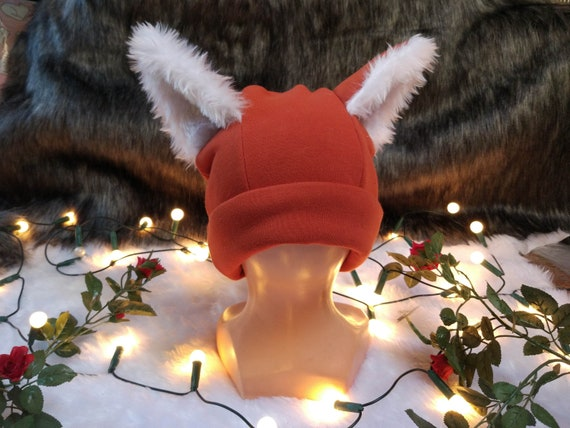 Fox beanie with fur ears, situable for winter <3
