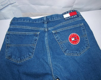 c5e99781 RARE Tommy Hilfiger Womens Sz 13 Boyfriend Jeans Button Fly Circle Patch  Vintage 20 Years old LOW and Fast Shipping