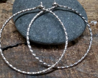 Continuous Mobius hoop earrings sterling silver 1 mm wide 1/2 inch to 3 inch diameter 925