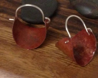 Coppper earrings with Sterling Silver hooks handmade hammered