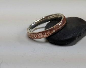 Handmade Mokume-gane wedding band, Copper and siliver, wedding ring