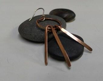 Bronze dangle earrings... Sterling Silver hooks...