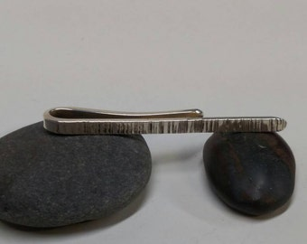 Tree bark tie clip bar. Solid Sterling Silver Don't forget the Tie clip for Dad. 925 tree bark finish