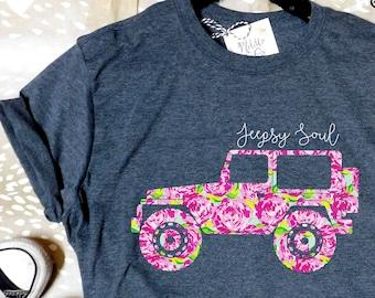 Jeep Tshirt Jeepsy Soul Tee Gift Lover Jeepaholic Girl Life Shirt TShirt For Women Ladies