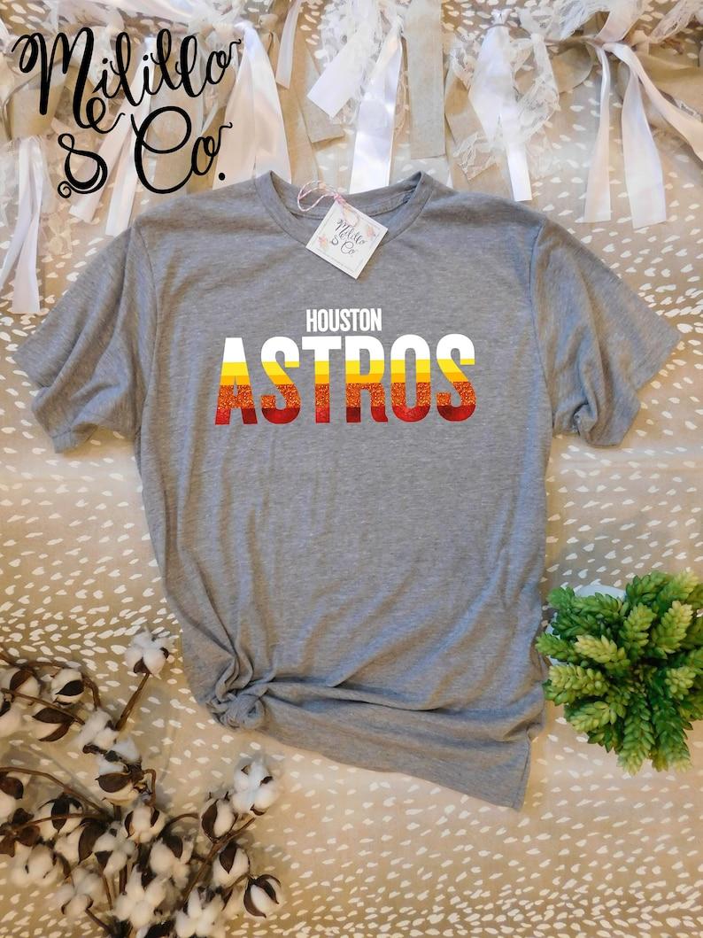 Astros T-shirt Retro Astros Tee Womens Astros Shirt Houston MLB Shirt Women  Throwback Astros TShirt Vintage Rainbow Astros Tshirt For Women